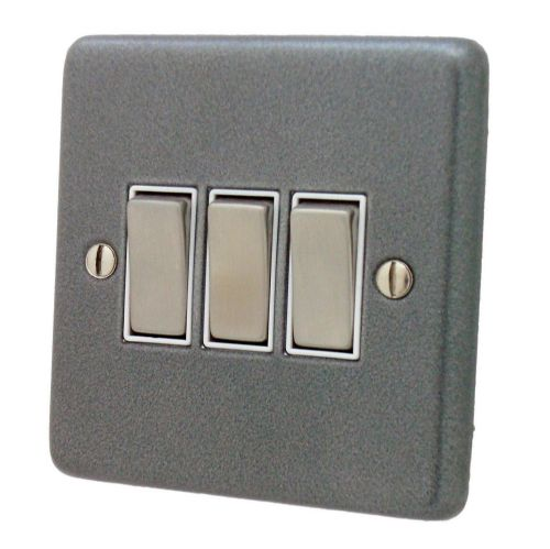 G&H CP203 Standard Plate Pewter 3 Gang 1 or 2 Way Rocker Light Switch